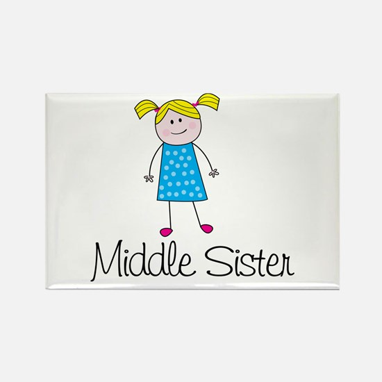 middle sister t-shirt stick figure Rectangle Magne