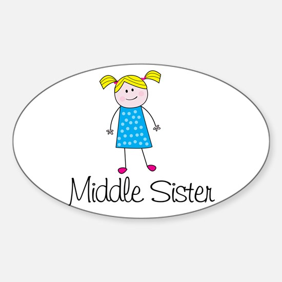 middle sister t-shirt stick figure Oval Decal