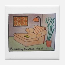 Reading Soothes the Soul Tile Coaster