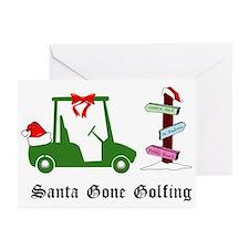 Santa Gone Golfing - Greeting Cards (Pk of 10)