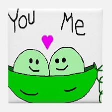 Cute Two peas in a pod Tile Coaster