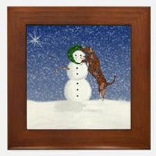 Catahoula Leopard Dog and Sno Framed Tile
