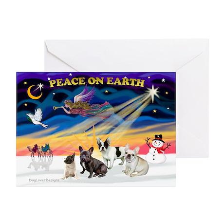 XmasSunrise/4 Fr Bulldogs Greeting Cards(Pk of 10)
