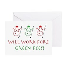 Will Work Fore Green Fees - Greeting Cards (Pk 10)