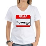 Hello my name is Domingo Women's V-Neck T-Shirt
