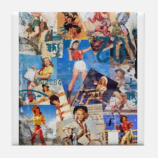 Cowgirl Pin-Ups No.1 Tile Coaster