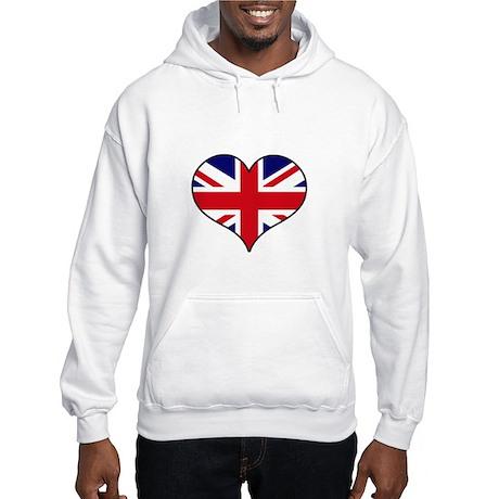 British Flag Heart Hooded Sweatshirt