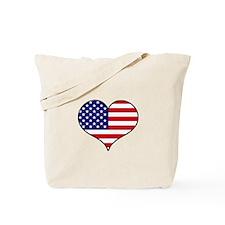 American Flag Heart Tote Bag
