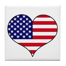 American Flag Heart Tile Coaster