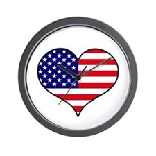 American Flag Heart Wall Clock