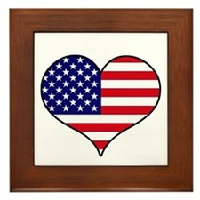 American Flag Heart Framed Tile