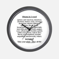 """""""Obama in 1 Word"""" Wall Clock"""