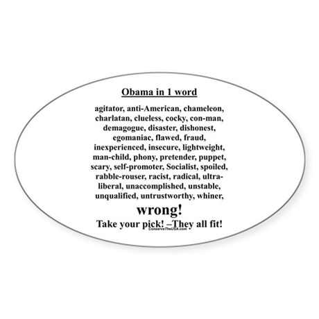 """Obama in 1 Word"" Oval Sticker"