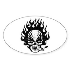 Flaming Stogie Skull Oval Decal