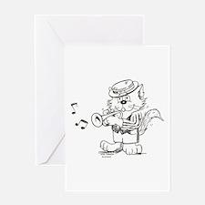 Catoons trumpet cat Greeting Card