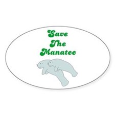 SAVE THE MANATEE Oval Decal