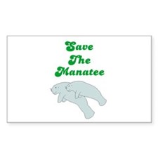 SAVE THE MANATEE Rectangle Decal