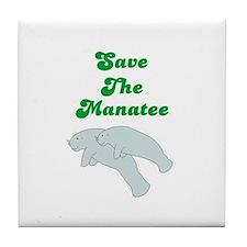 SAVE THE MANATEE Tile Coaster
