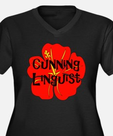 Cunning Linguist Women's Plus Size V-Neck Dark T-S