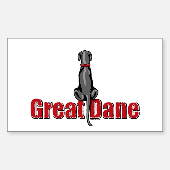 Black Great Dane UC Sit Rectangle Decal