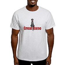 Black Great Dane UC Sit Ash Grey T-Shirt
