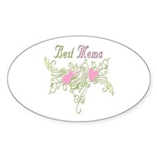Best Mema Hearts Oval Decal
