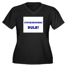 Stockbrokers Rule! Women's Plus Size V-Neck Dark T