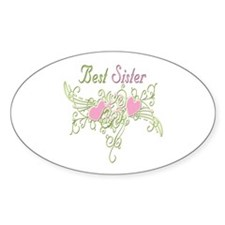 Best Sister Hearts Oval Decal