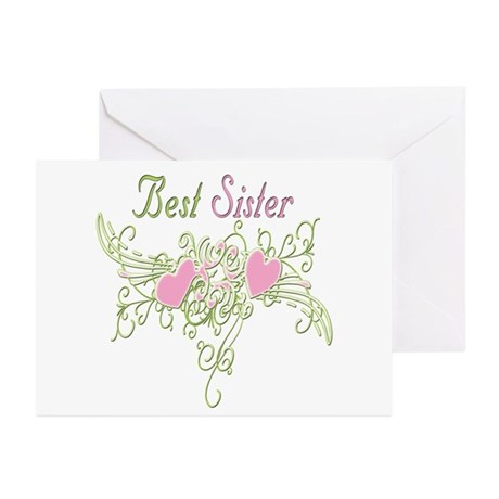 Best Sister Hearts Greeting Cards (Pk of 10)