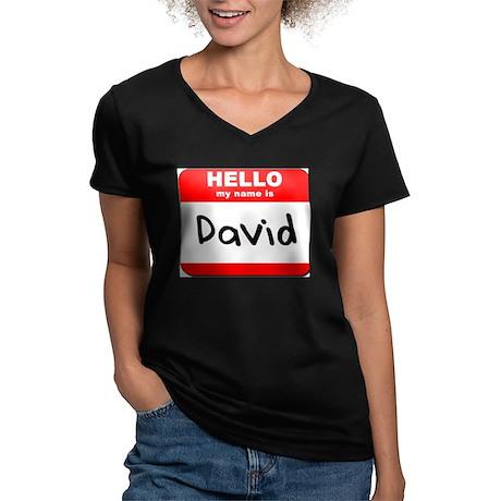 Hello my name is David Women's V-Neck Dark T-Shirt