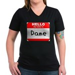 Hello my name is Dane Women's V-Neck Dark T-Shirt