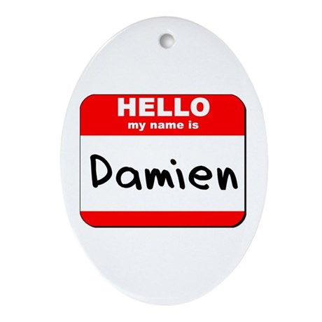 Hello my name is Damien Oval Ornament