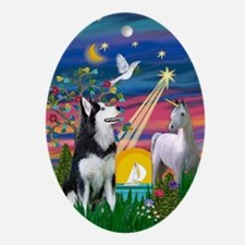 Siberian Husky Magical Night Keepsake (Oval)