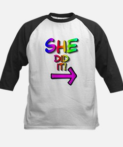 She did it! (right) Tee