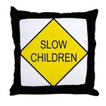Slow Children Sign - Throw Pillow