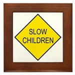 Slow Children Sign - Framed Tile