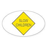 Slow Children Sign - Oval Sticker