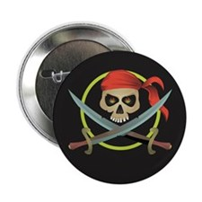 "Skull and Crossed Swords 2.25"" Button"