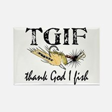 TGIF Fishing Rectangle Magnet