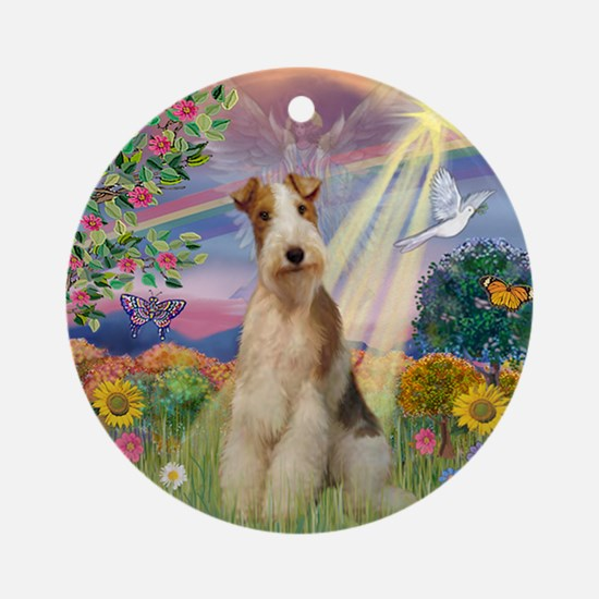Cloud Angel Wire Fox Terrier Keepsake (Round)