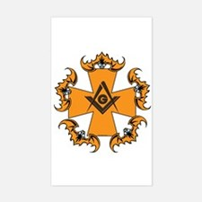 Masonic Bats and Maltese Cross Rectangle Decal