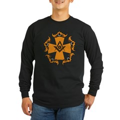 Masonic Bats and Maltese Cross Long Sleeve Dark T-