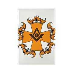 Masonic Bats and Maltese Cross Rectangle Magnet (1