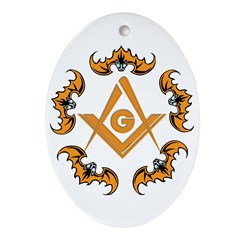 Bats and the Masons Oval Ornament