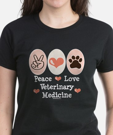 Peace Love Veterinary Medicine Women's Dark T-Shir