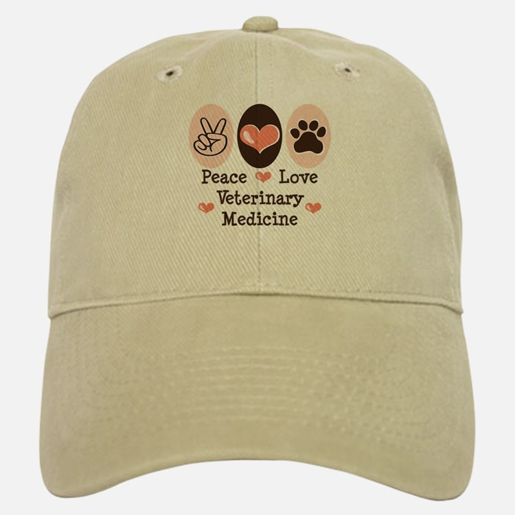 Peace Love Veterinary Medicine Baseball Baseball Cap