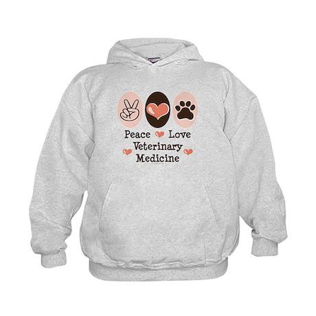Peace Love Veterinary Medicine Kids Hoodie