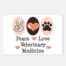 Peace Love Veterinary Medicine Postcards 8 Pack