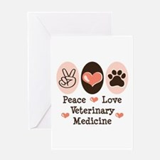 Peace Love Veterinary Medicine Greeting Card