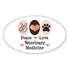Peace Love Veterinary Medicine Oval Decal